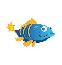 blue fish with yellow stripes sea tropical vector image vector image
