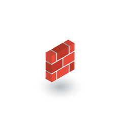 brick wall isometric flat icon 3d vector image