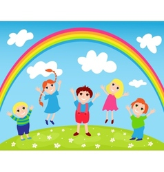 Children and rainbow vector image