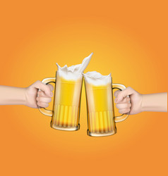 hands holding glass mugs with beer raised in a vector image