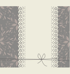 lace frame with decorative flowers leaves and bow vector image vector image
