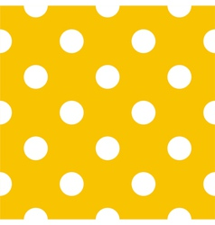 Seamless white polka dots on yellow background vector image vector image