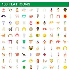 100 flat icons set vector image