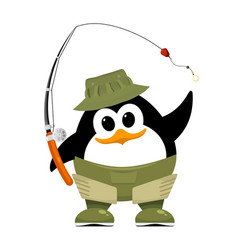 abstract penguin in fishing rubber boots hat and vector image