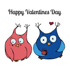 couple of cute owls love card design vector image
