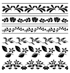 floral borders - black tracery vector image vector image