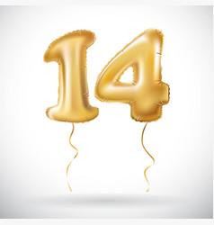 golden 14 number fourteen metallic balloon party vector image vector image