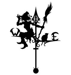 Halloweens weathervane with silhouette of a Witch vector image vector image