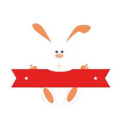 rabbit easter holding red ribbon vector image