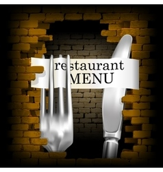 restaurant menu knife and fork for brick wall vector image vector image