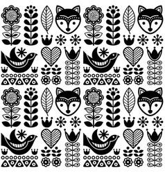 scandinavian seamless folk art pattern - black vector image vector image