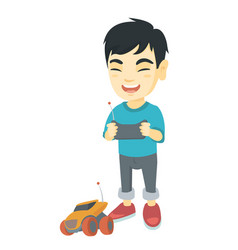 asian boy playing with a radio-controlled car vector image vector image