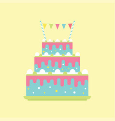 birthday cake with flags vector image vector image