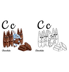 chocolate alphabet letter c coloring page vector image vector image