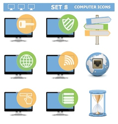 Computer Icons Set 8 vector image vector image