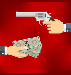 hand holding pistol and hand giving money vector image