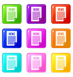 news newspaper set 9 vector image vector image