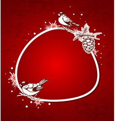 Red Christmas background with birds vector image vector image