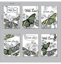 set hand Floral card a6 with butterfly Hand drawn vector image vector image