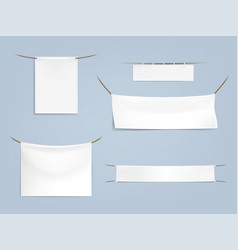 set of white blank textile banners vector image vector image