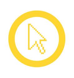 yellow symbol pixel cursor icon vector image vector image
