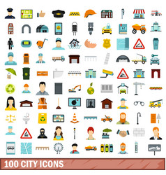 100 city icons set flat style vector