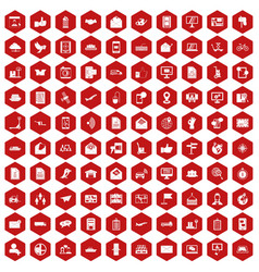 100 post and mail icons hexagon red vector