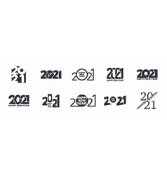 2021 happy new year logo different variations vector image