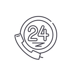 24 hour client support line icon concept 24 hour vector image
