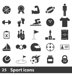 25 sport simple icons set vector image