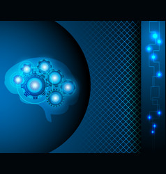 ai robot brain over electronic blue background vector image