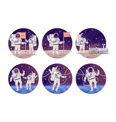 Astronauts in outer space flat concept icons set vector