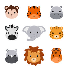 baby shower cute safari animals set of 9 animal vector image