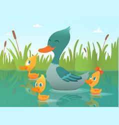 background cartoon duck funny vector image