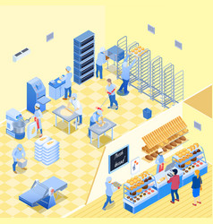 bakery inside isometric vector image
