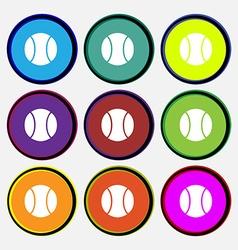 Baseball icon sign Nine multi colored round vector