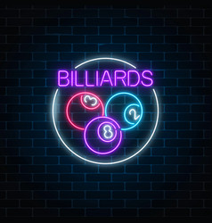 Billiard balls in circle frame in neon style vector