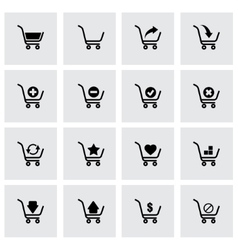 black shopping cart icon set vector image