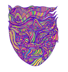 bright psychedelic surreal shamanic abstract face vector image