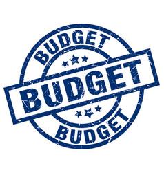 Budget blue round grunge stamp vector