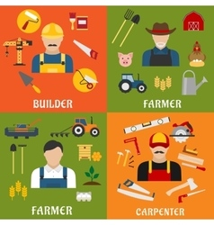 Builder farmer and carpenter icons vector
