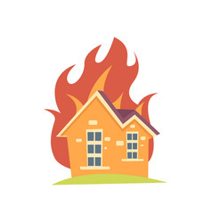 burning house with fire outside the walls isolated vector image
