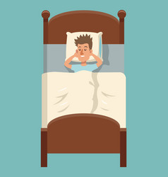 cartoon man sleep lying in bed vector image