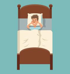 Cartoon man sleep lying in bed vector