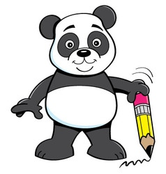 Cartoon panda bear holding a pencil vector image