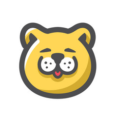 cat face yellow icon cartoon vector image