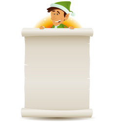 christmas elf and gift list on parchment vector image