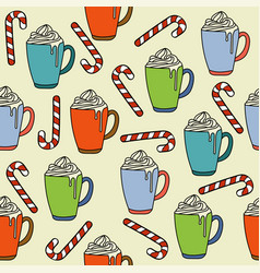 christmas seamless pattern with hot chocolate vector image