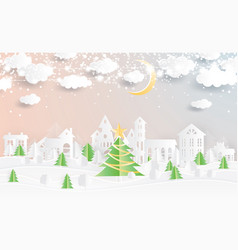 christmas village and christmas tree in paper cut vector image