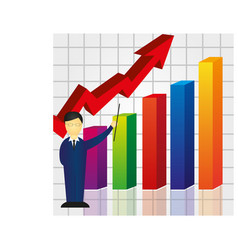 Colorful business graph with businessman vector